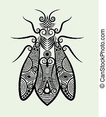 Decorative bee - decorative insect ink drawing for tattoo...
