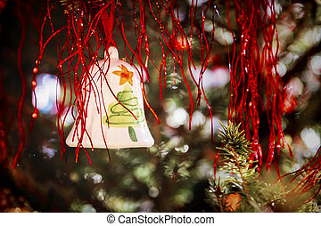 Decorative bell on the christmas tree