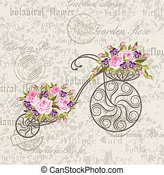 Decorative bicycle with a basket full of flowers