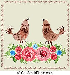 Decorative bird in flowers Khokhloma
