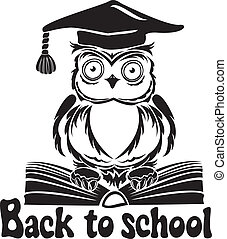 Decorative bird - owl with graduation cap and book, isolated on white background. Back to school emblem