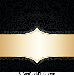 Decorative black & gold floral luxury wallpaper background