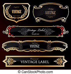 Decorative black golden labels . Vector illustration