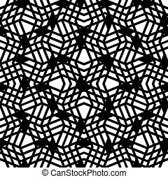 Geometric messy lined seamless pattern, monochrome vector endless background. Decorative black motif overlay texture.