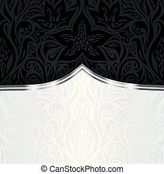 Decorative black silver floral luxury wallpaper background design in vintage style