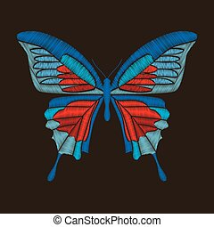 Decorative blue and red butterfly. Isolated on dark brown background. Vector embroidery element for patches, badges and stickers