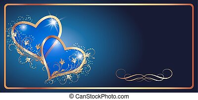 Decorative blue hearts and vintage ornament - Card with...