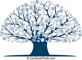 Decorative blue tree silhouette