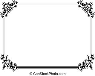 Decorative border - Decorative floral border in black on a...