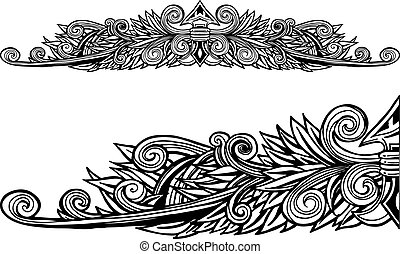 Decorative Border Line Art isolated on a white background.