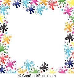 Decorative border of paints drops and blots - Vector...