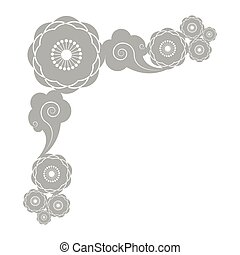 Decorative border with flowers and clouds