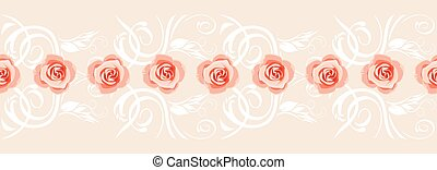 Decorative border with pink roses for greeting card