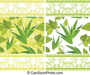 Decorative borders with leaves