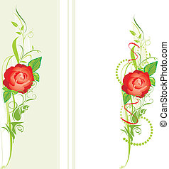 Decorative borders with red rose