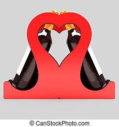 Decorative bottle stand for wine in the form of a heart on a wedding theme. 3D illustration.