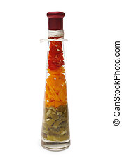 Decorative bottle with color slices of bulgarian pepper