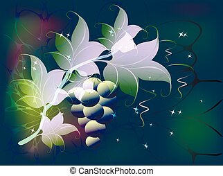 Decorative branch of grapes with clusters of berries and leaves on a fabulous green background with glitter. EPS10 vector illustration