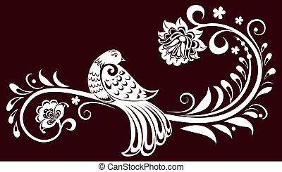 Decorative branch with a bird. decorative leaves. Vector illustration