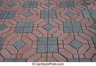 Decorative brick patterned patio
