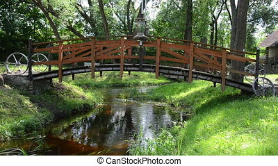 decorative bridge - decorative wooden bridge brown painted...