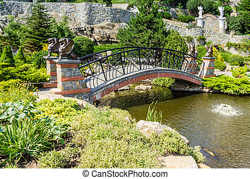 Decorative bridge in the park