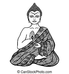 Decorative Buddha Sketch - Decorative buddha in lotus...