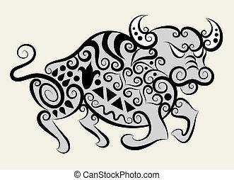 Decorative bull vector