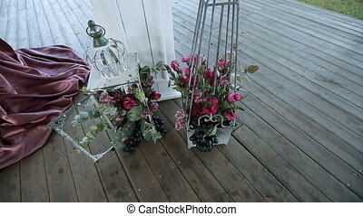decorative bunch in lanterns on the wooden floor