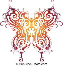 Decorative butterfly tattoo