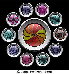 Decorative buttons set.