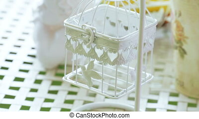 Decorative cage and flower - Hanging decorative cage and...