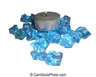 Decorative candle with blue crystals