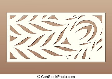 Decorative card for cutting. Leaves foliage feather pattern...