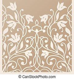 Decorative card for cutting. Palm leaf pattern. Laser cut. Ratio 1:2. Vector illustration.