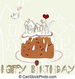Decorative card with cake