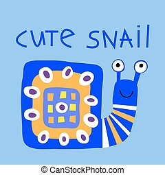 Decorative card with cute cartoon stylized snail