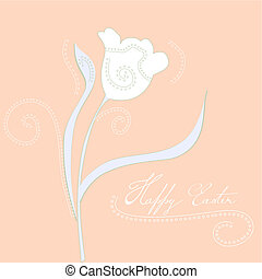 Decorative card with stylized tulips