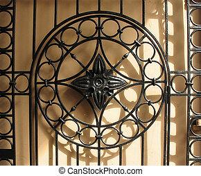 Decorative cast-iron fence. Background