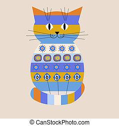 Decorative cat with ethnic ornament