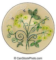Decorative ceramic dish painted with hands. Art, handmade.