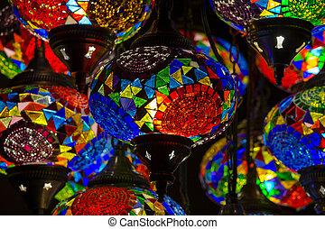 Decorative chandelier detail in Turkey. Close up