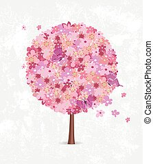 Decorative cherry blossom tree round shape with flying flowers a