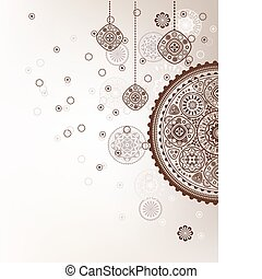 decorative christmas background - Decorative folk graphic...