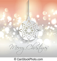 Decorative Christmas background with bokhe lights and bauble design