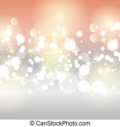 Decorative Christmas background with bokhe lights and stars design