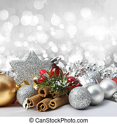 Decorative Christmas background with decorations, bokeh lights and stars