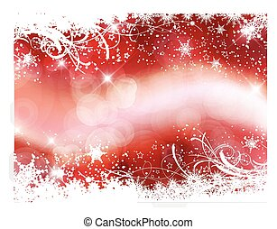Decorative Christmas background with snowflakes on bokeh lights background