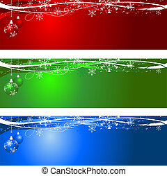 Decorative Christmas backgrounds with hanging baubles