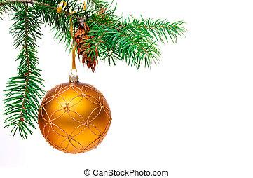 Decorative Christmas ball hangs on the Christmas tree.